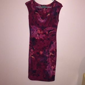 Red floral cowl dress